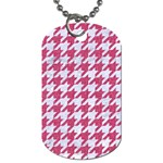 HOUNDSTOOTH1 WHITE MARBLE & PINK DENIM Dog Tag (One Side) Front