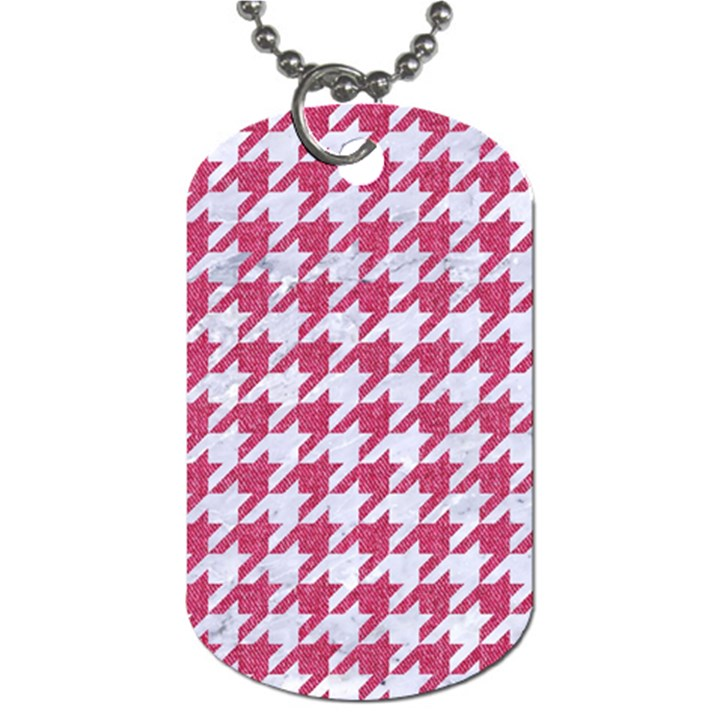 HOUNDSTOOTH1 WHITE MARBLE & PINK DENIM Dog Tag (One Side)