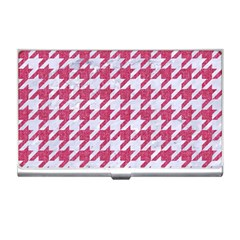 Houndstooth1 White Marble & Pink Denim Business Card Holders