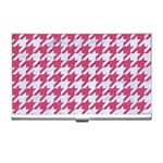 HOUNDSTOOTH1 WHITE MARBLE & PINK DENIM Business Card Holders Front