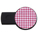 HOUNDSTOOTH1 WHITE MARBLE & PINK DENIM USB Flash Drive Round (2 GB) Front