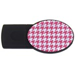 HOUNDSTOOTH1 WHITE MARBLE & PINK DENIM USB Flash Drive Oval (2 GB) Front