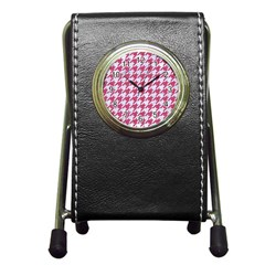 Houndstooth1 White Marble & Pink Denim Pen Holder Desk Clocks