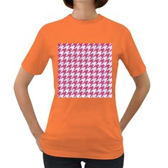Houndstooth1 White Marble & Pink Denim Women s Dark T Shirt