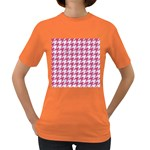 HOUNDSTOOTH1 WHITE MARBLE & PINK DENIM Women s Dark T-Shirt Front