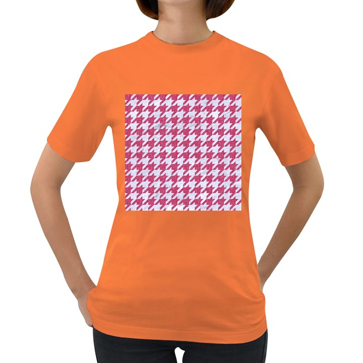 HOUNDSTOOTH1 WHITE MARBLE & PINK DENIM Women s Dark T-Shirt