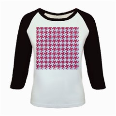Houndstooth1 White Marble & Pink Denim Kids Baseball Jerseys