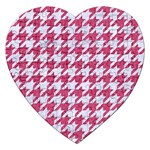 HOUNDSTOOTH1 WHITE MARBLE & PINK DENIM Jigsaw Puzzle (Heart) Front