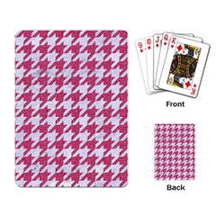 Houndstooth1 White Marble & Pink Denim Playing Card