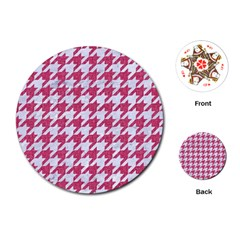 Houndstooth1 White Marble & Pink Denim Playing Cards (round)