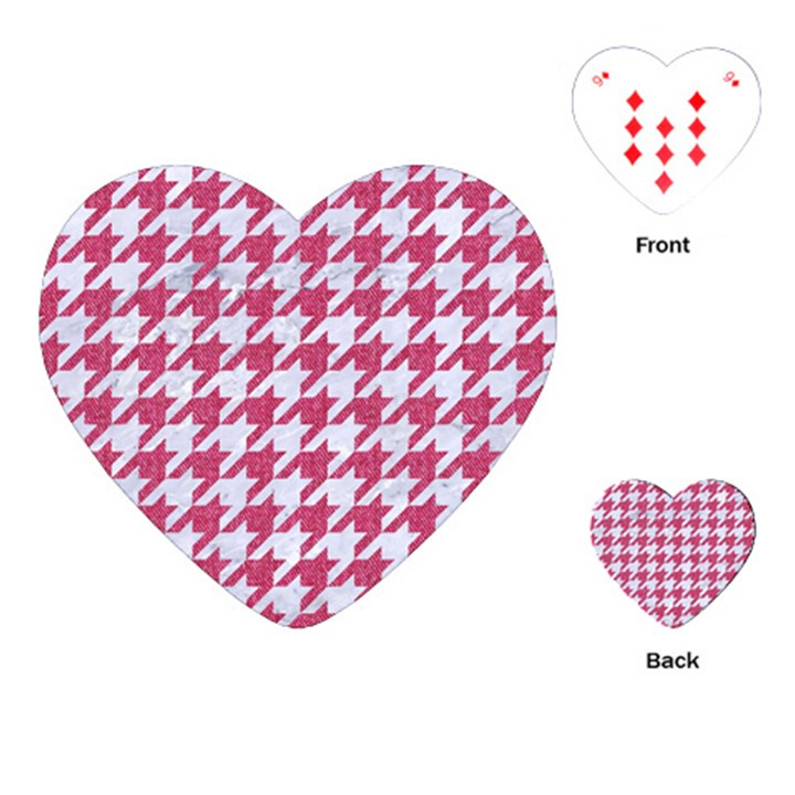 HOUNDSTOOTH1 WHITE MARBLE & PINK DENIM Playing Cards (Heart)