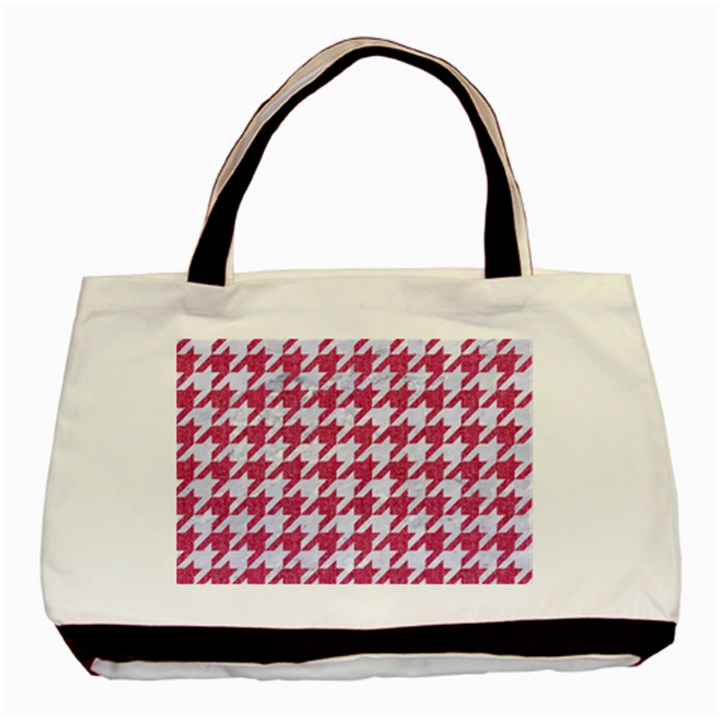 HOUNDSTOOTH1 WHITE MARBLE & PINK DENIM Basic Tote Bag