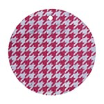 HOUNDSTOOTH1 WHITE MARBLE & PINK DENIM Round Ornament (Two Sides) Front
