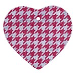 HOUNDSTOOTH1 WHITE MARBLE & PINK DENIM Heart Ornament (Two Sides) Front