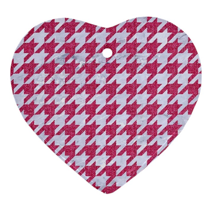 HOUNDSTOOTH1 WHITE MARBLE & PINK DENIM Heart Ornament (Two Sides)