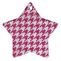 Houndstooth1 White Marble & Pink Denim Star Ornament (two Sides)
