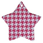HOUNDSTOOTH1 WHITE MARBLE & PINK DENIM Star Ornament (Two Sides) Front