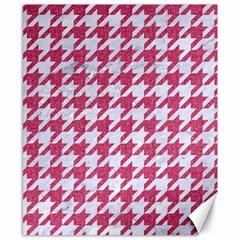 Houndstooth1 White Marble & Pink Denim Canvas 8  X 10  by trendistuff