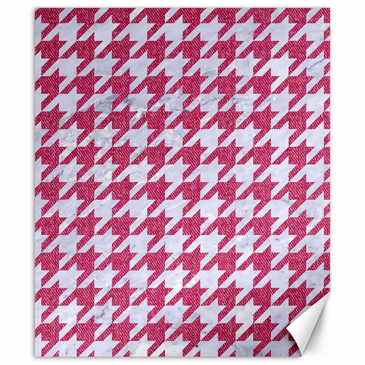 HOUNDSTOOTH1 WHITE MARBLE & PINK DENIM Canvas 20  x 24
