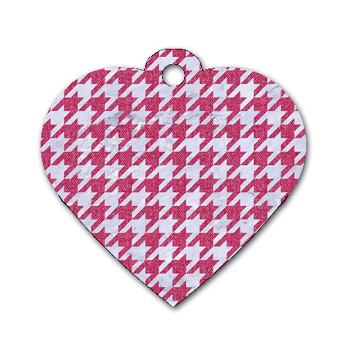 HOUNDSTOOTH1 WHITE MARBLE & PINK DENIM Dog Tag Heart (Two Sides)