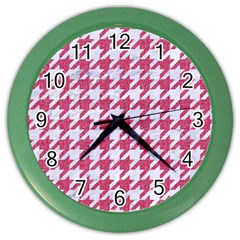 Houndstooth1 White Marble & Pink Denim Color Wall Clocks