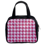 HOUNDSTOOTH1 WHITE MARBLE & PINK DENIM Classic Handbags (2 Sides) Front