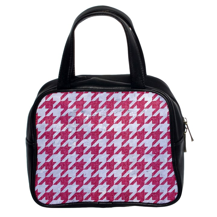 HOUNDSTOOTH1 WHITE MARBLE & PINK DENIM Classic Handbags (2 Sides)