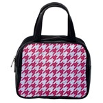 HOUNDSTOOTH1 WHITE MARBLE & PINK DENIM Classic Handbags (2 Sides) Back