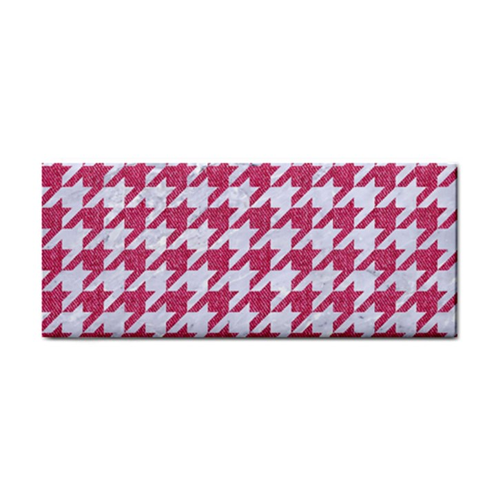 HOUNDSTOOTH1 WHITE MARBLE & PINK DENIM Hand Towel