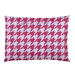 Houndstooth1 White Marble & Pink Denim Pillow Case