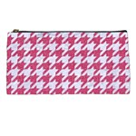 HOUNDSTOOTH1 WHITE MARBLE & PINK DENIM Pencil Cases Front