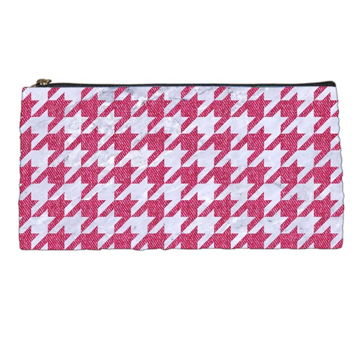 HOUNDSTOOTH1 WHITE MARBLE & PINK DENIM Pencil Cases