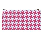 HOUNDSTOOTH1 WHITE MARBLE & PINK DENIM Pencil Cases Back