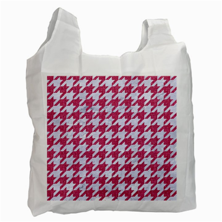 HOUNDSTOOTH1 WHITE MARBLE & PINK DENIM Recycle Bag (One Side)