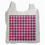 HOUNDSTOOTH1 WHITE MARBLE & PINK DENIM Recycle Bag (Two Side)  Front