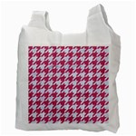 HOUNDSTOOTH1 WHITE MARBLE & PINK DENIM Recycle Bag (Two Side)  Back