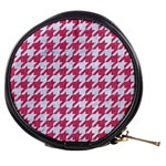 HOUNDSTOOTH1 WHITE MARBLE & PINK DENIM Mini Makeup Bags Front