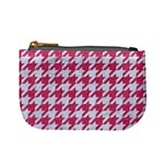 HOUNDSTOOTH1 WHITE MARBLE & PINK DENIM Mini Coin Purses Front