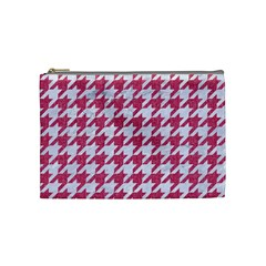 Houndstooth1 White Marble & Pink Denim Cosmetic Bag (medium)