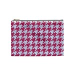 HOUNDSTOOTH1 WHITE MARBLE & PINK DENIM Cosmetic Bag (Medium)  Front