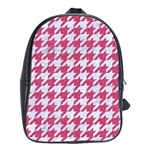 HOUNDSTOOTH1 WHITE MARBLE & PINK DENIM School Bag (Large) Front