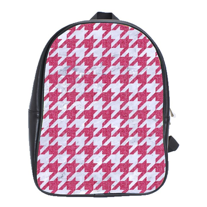 HOUNDSTOOTH1 WHITE MARBLE & PINK DENIM School Bag (Large)