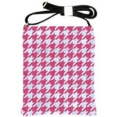 Houndstooth1 White Marble & Pink Denim Shoulder Sling Bags by trendistuff
