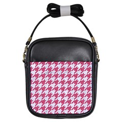 Houndstooth1 White Marble & Pink Denim Girls Sling Bags by trendistuff