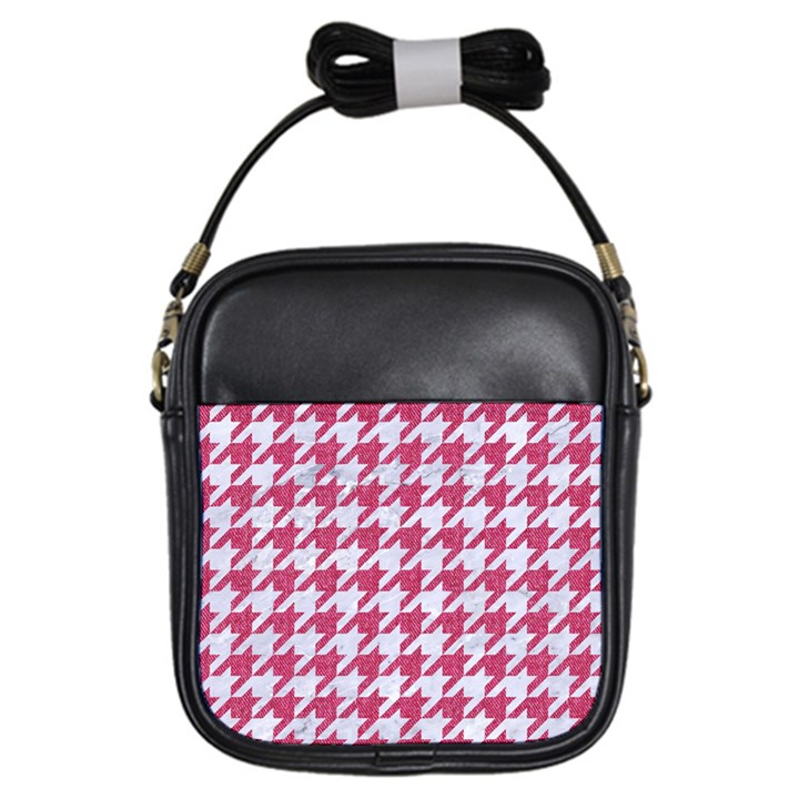 HOUNDSTOOTH1 WHITE MARBLE & PINK DENIM Girls Sling Bags