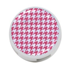 Houndstooth1 White Marble & Pink Denim 4 Port Usb Hub (two Sides)