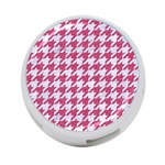HOUNDSTOOTH1 WHITE MARBLE & PINK DENIM 4-Port USB Hub (Two Sides)  Front