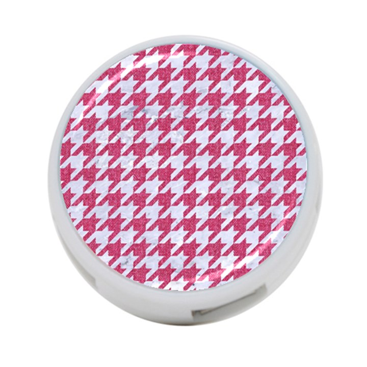 HOUNDSTOOTH1 WHITE MARBLE & PINK DENIM 4-Port USB Hub (Two Sides)