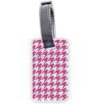 HOUNDSTOOTH1 WHITE MARBLE & PINK DENIM Luggage Tags (One Side)  Front