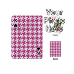 HOUNDSTOOTH1 WHITE MARBLE & PINK DENIM Playing Cards 54 (Mini)  Front - SpadeK